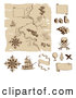 Vector Clip Art of a Worn Old Pirate Treasure Map and Design Elements by AtStockIllustration