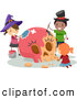 Vector Clip Art of Halloween Stick Kids Painting a Large Carved Pumpkin Skull by BNP Design Studio