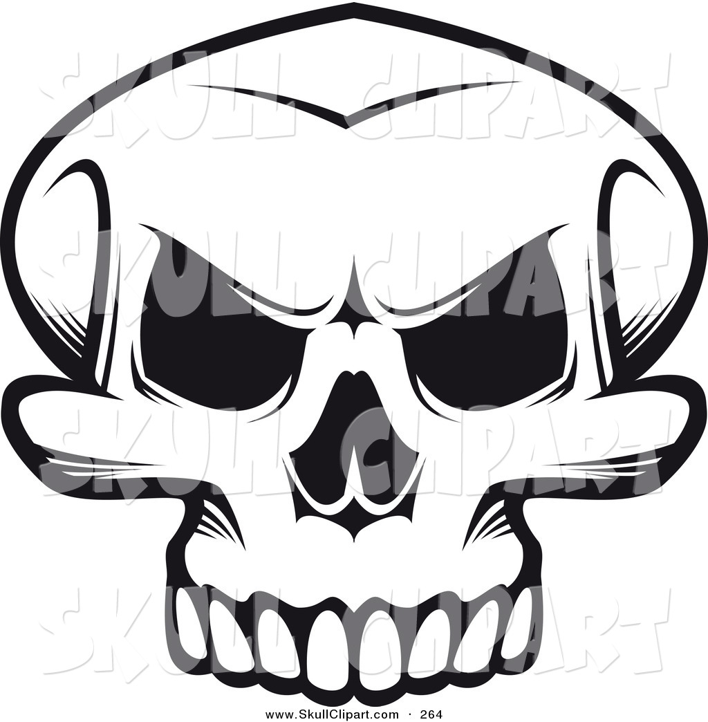 Skull angry. Vector clip art of