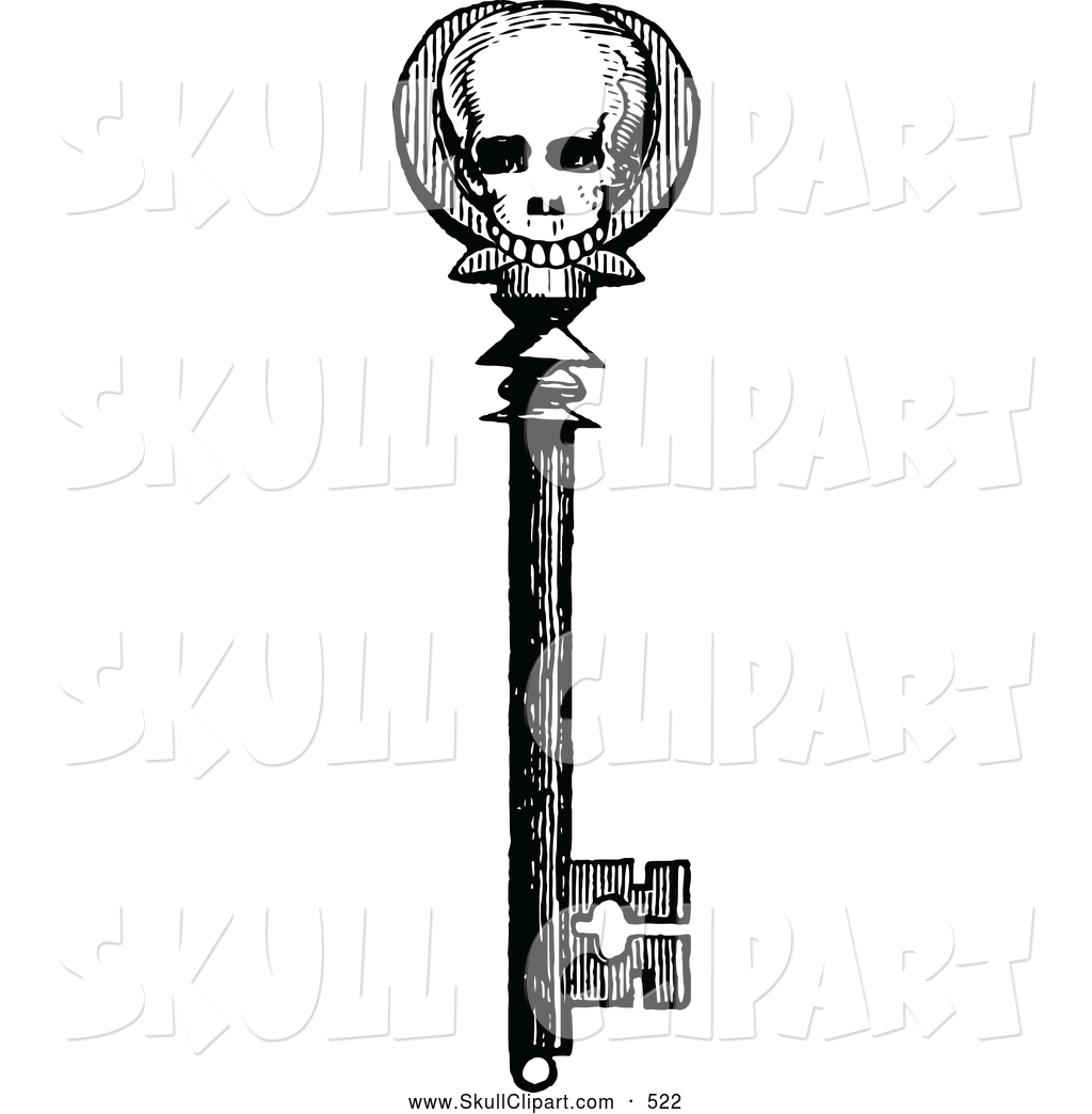 Vector Clip Art Of A Old Fashioned Vintage Black And White Skull Skeleton Key