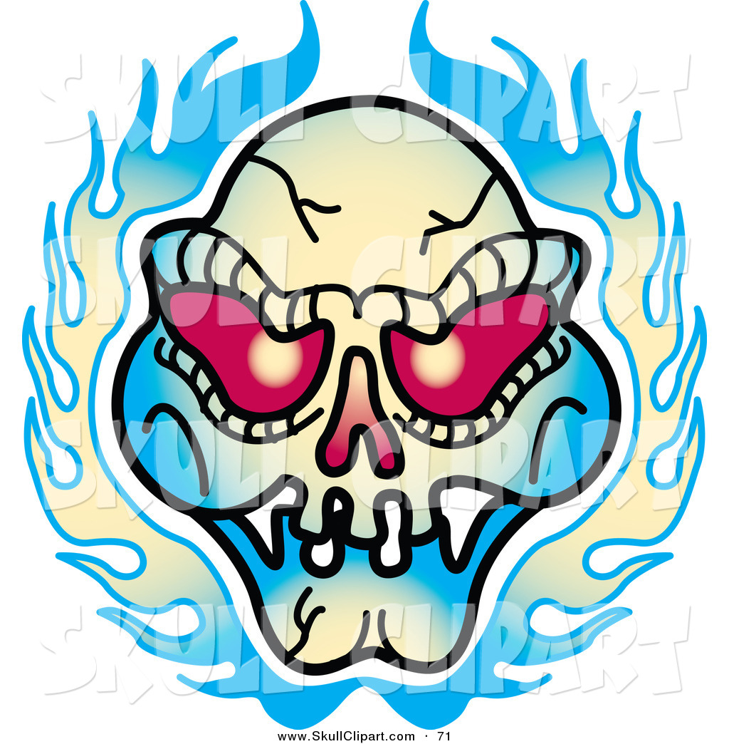 Tattoo Designs Clipart: Vector Clip Art Of A Red Eyed Evil Skull And Flames Tattoo