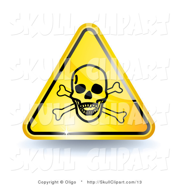 Vector Clip Art Of A 3d Shiny Yellow Poison Sign With A Skull And