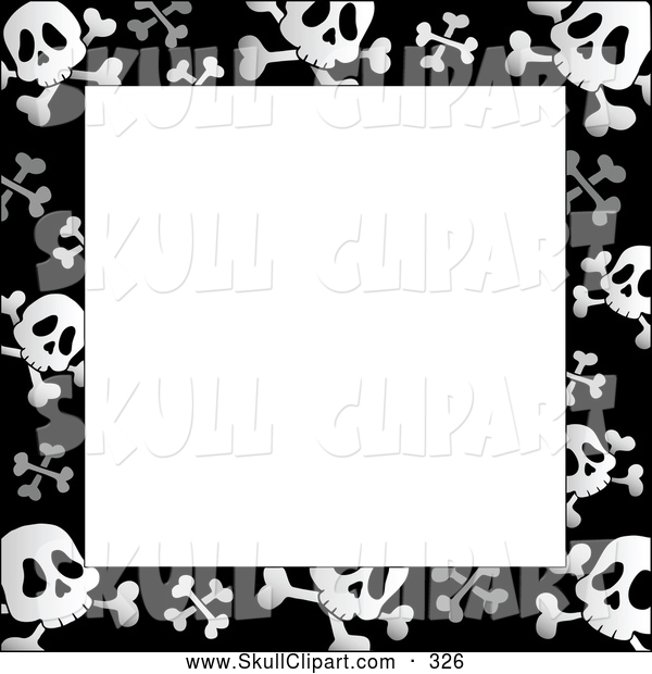 Vector Clip Art of a Black and White Skull and Crossbone Frame ...