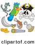 Vector Clip Art of a Digital Set of Pirate Items on White by Visekart