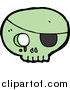 Vector Clip Art of a Green Pirate Skull with a Bleeding Eye Socket and Patch by Lineartestpilot