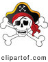 Vector Clip Art of a Grinning Pirate Skull and Cross Bones with a Hat by Visekart