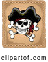 Vector Clip Art of a Mad Jolly Roger Pirate Skull and Cross Bones with a Hat on Parchment by Visekart