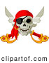 Vector Clip Art of a Smiling Pirate Skull and Crossed Swords with an Eye Patch by Pushkin