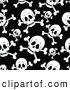 Vector Clip Art of a Spooky Seamless Pirate Skull and Cross Bones Background Pattern by Visekart